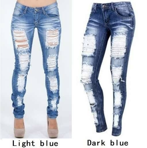light and dark distressed jeans