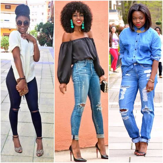 3 ladies rocking distressed jeans and ripped jeans