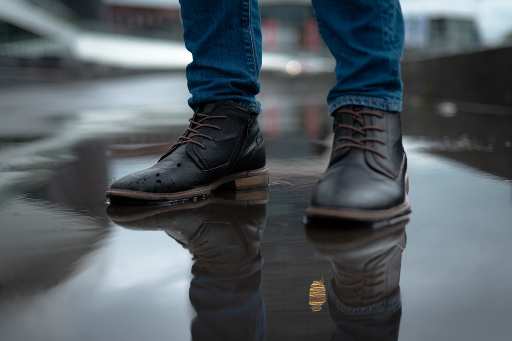 man wearing leather shoes